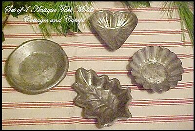 4 Antique Primitive Early Tin Heart Leaf Tart Pan Chocolate Candy Butter Molds