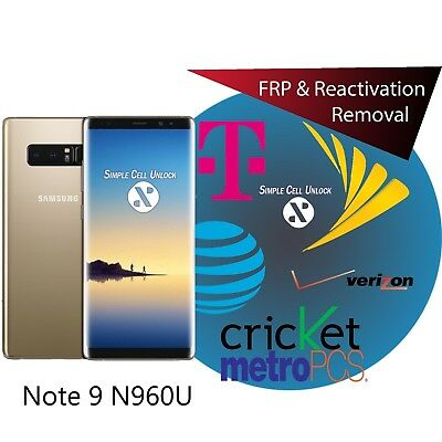 Samsung Galaxy Note 9 Google account FRP & Samsung lock removal instant