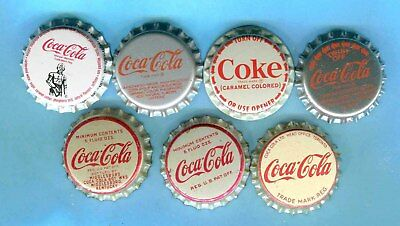 7-LOT of UNUSED DIFFERENT COCA COLA SODA BOTTLE CAPS - 4 Plastic & 3 Cork Lining