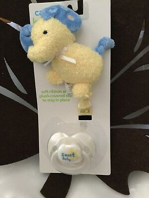 New Carter's Pacifier & Ribbon With Plush Elephant Animal Clip NWT Cute!!!!