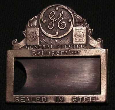 """RARE 1920'S GE GENERAL ELECTRIC EMPLOYEE NAME BADGE """"SEALED IN STEEL"""" Pin"""