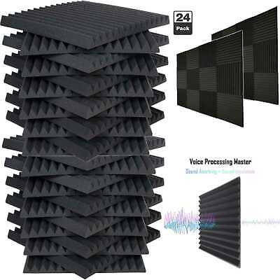 "24 Pack Acoustic Foam Soundproof Panels Studio Wedge Tiles Charcoal 1""x 12""x 12"""