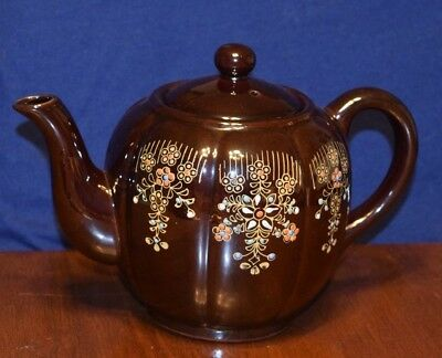Vintage Large Moriage Redware Hand Painted Japanese Brown Betty Teapot