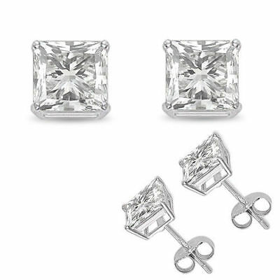 14K White Gold Fn Princess-Cut Diamond 3 Ct Solitaire Stud Earrings Screw Back