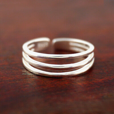 925 Sterling Silver Triple Layers Knuckle Midi Pinkie Toe Ring size 3 A3393