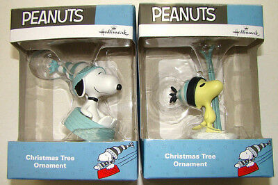2017 Hallmark Christmas Ornament PEANUTS Set 2 Snoopy Woodstock VHTF