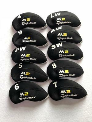 Bundle 10x Golf Iron Headcovers for Taylormade M2 Club Covers Black&Black 4-LW