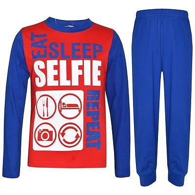 Kids Girls Boys Red & Blue Pajamas Eat Sleep Selfie Repeat Loungewear PJS 2-13Yr