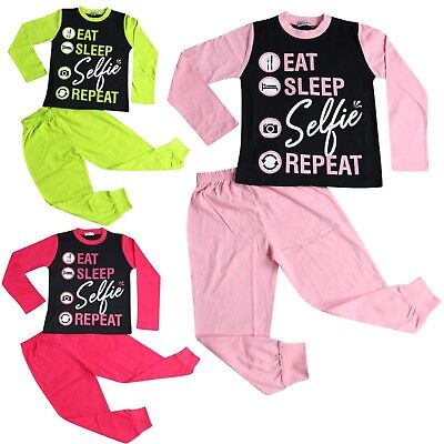 Kids Girls Boys Designer Eat Sleep Selfie Repeat Pyjamas Lounge Wear PJS 2-13 Yr