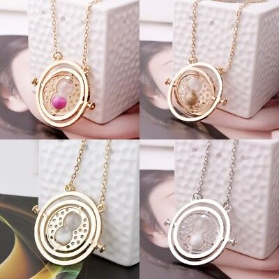 Harry Potter Gold Time Turner Hermione Granger Rotating Hourglass Necklace Nice