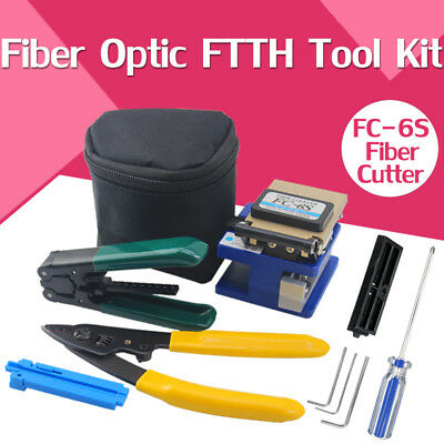 11x FTTH Splice Fiber Optic Kit+FC-6S Cutter Fiber Cleaver Optical Power Meter