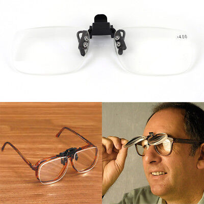 Clip On Flip Up Magnifying Reading Glasses Magnifiers Lenses x2.5 x3.0 x4.0