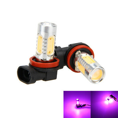 2/4pcs 7.5W Pink-Purple H11 H8 COB LED Bulbs For Car Driving Fog Light Lamp 38mm