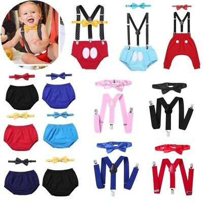 Baby Boys1st 2nd Birthday Cake Smash Photo Prop Outfits Wild ONE Bloomers Bow Tie Suspender Party Wedding Clothes Set