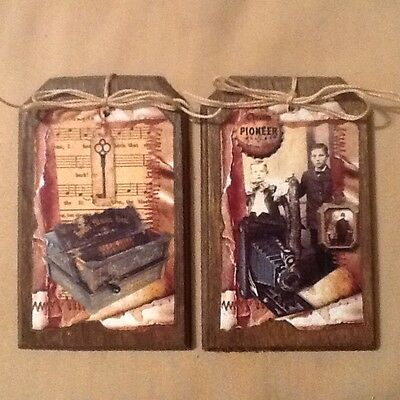 5 Handcrafted WOODEN Ornaments/HangTags/Ornies ANTIQUE CAMERA,TYPEWRITER...SetKV