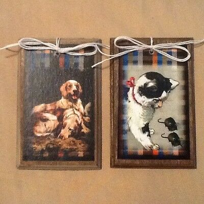 5 WOODEN Farm Animal Hang Tags/Ornaments/ORNIES Horse,Dog,Cat,Bunny,Chick SET*0