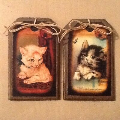 5 Handcrafted Wooden Playful Kitten Ornaments/Cat HangTags/Kitten GiftTags SET*0
