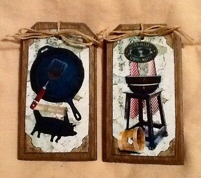 5 Handcrafted PRIM COUNTRY KITCHEN HangTags/BowlFillers/Ornies Set*0
