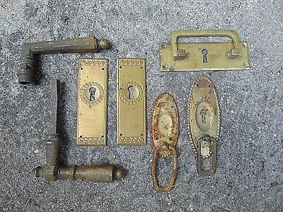ANTIQUE VINTAGE BRASS DROP DOOR HANDLE KEY COVERS lot