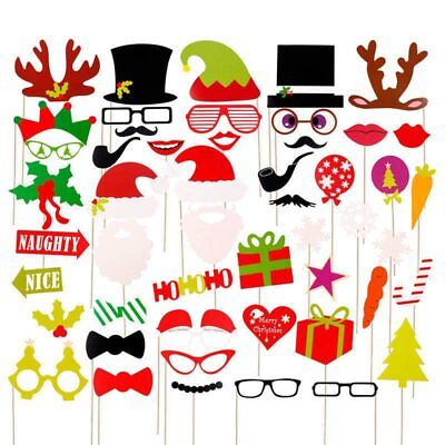 17/50X Merry Christmas Photo Booth Props On Mustache Lips Stick Xmas Party Decor