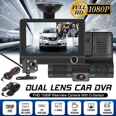 4'' HD 1080P 3 Lens Car DVR Dash Cam Vehicle Video Recorder Rearview Camera 170°
