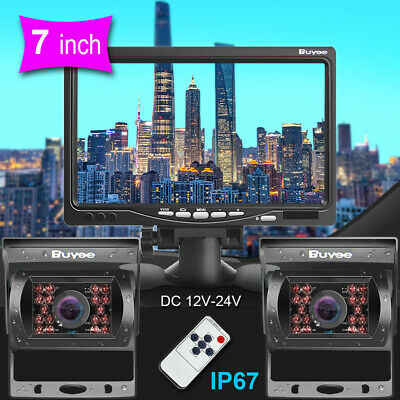 "12-24V 7"" LCD Monitor Car Rear View Kit for Bus Truck Car+2* IR Reversing Camera"
