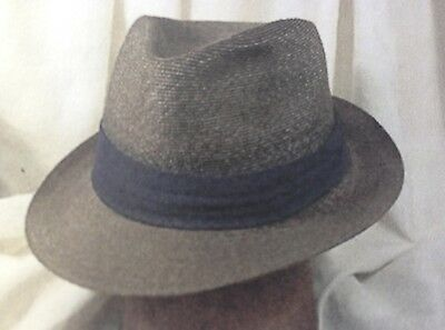 76c4150f5e81d Vintage Royal Stetson Men s Milan Straw Fedora Gray With Blue Pugaree Size 7  1 8