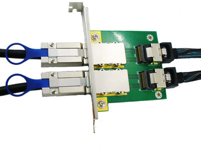 Lot of 2 Dual Port SFF-8087 Internal to SFF-8088 External  Adapter Cards
