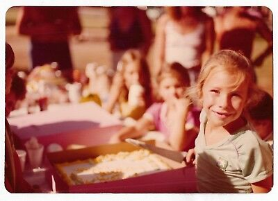 Vintage 70s PHOTO Little Girl at Park Ready to Cut Birthday Cake