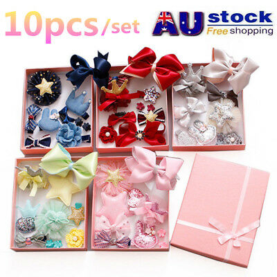 10Pcs/set Baby Girl Hair Clip Bow Flower Mini Barrettes Party Star Kids Hairpins
