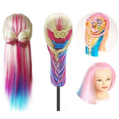 "24""Multicolor 100% Real Hair Practice Hairdressing Training Head Mannequin Doll"