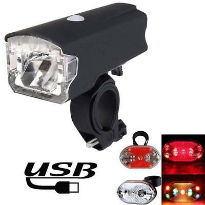 MTB Bike Bicycle LED USB Rechargeable Head Front Light & Rear Tail Back Lamp Set