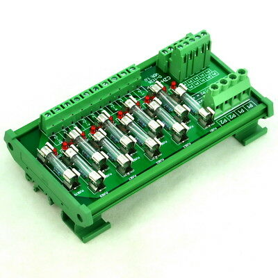 DIN Rail Mount 10 Position Power Distribution Fuse Module Board, For AC/DC 5~48V