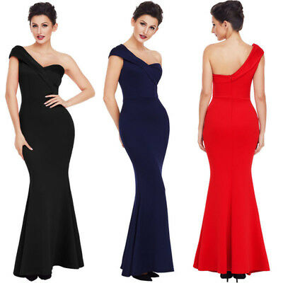 Ladies One Shoulder Sexy Ponti Gown Bridal Wedding Formal Prom Party Long Dress