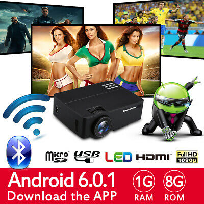 3D 4K Android 6.0 Proyector Multimedia 1+8GB WiFi Bluetooth 1280*768 Teatro Home