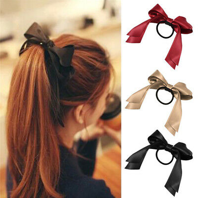 Tiara Satin Ribbon Bow Hair Band Rope Ponytail Holder Gum for Hair Accessories
