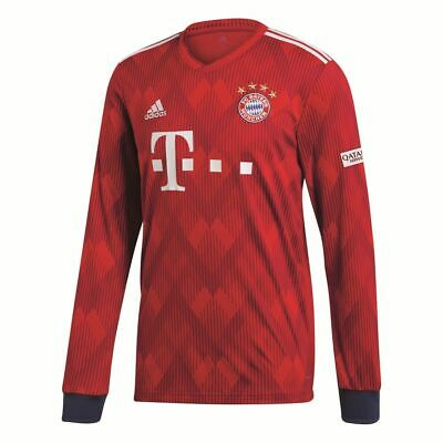 Adidas FC Bayern Munich Football Mens Home Long Sleeve Jersey Shirt 2018 2019