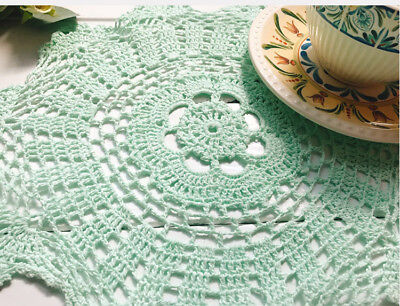 Pretty Soft Green Hand Floral Crochet Cotton Round Doily 30CM