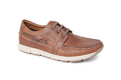 Mens Catesby Brown Leather Upper Lace Up Boat Deck Casual Smart Shoes SH2976