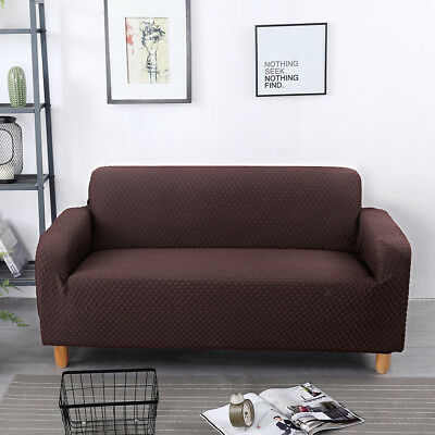 Brown Stretch Water Repellent Fully Covered 2-Seater Couch Sofa Cover