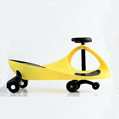 Swing Car Ride on Swivel Bike Childrens Kids Toy Wiggle Gyro Twist Yellow Grey