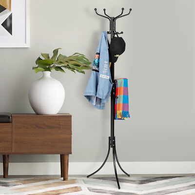 16 Hook Metal Coat Rack Hanger Stand Hat Garment Clothes Tree Storage Holder NSW