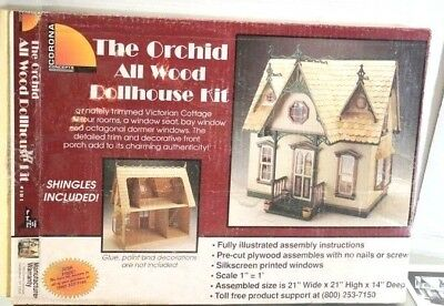 """Beautiful Victorian Wood Doll House Kit -The Orchid  21"""" to assemble & paint."""