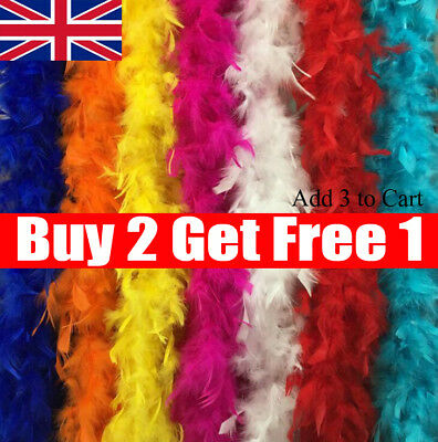 2M Feather Boa Strip Fluffy Craft Costume Fancy Dress Wedding Xmas Party Decor