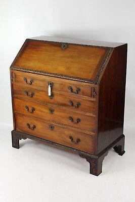 Small Antique Georgian Carved Mahogany Bureau - Writing Table Desk Chest Drawers