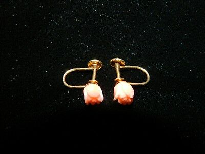 Estate Vintage 14kt. Solid Gold Angel Skin Coral Rose Hand Carved Earrings