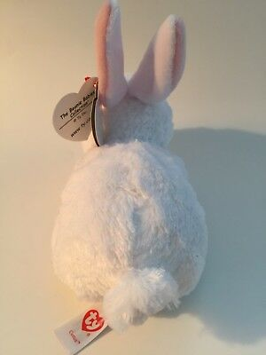"TY Beanie Babies White Bunny Plush ""Cotton"" Small 6"" Mint Tags Rabbit Ages 3+"