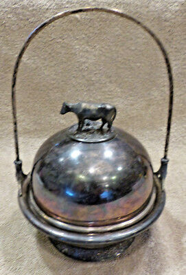 Vintage Metal Butter Dish Compote with Cow Finial