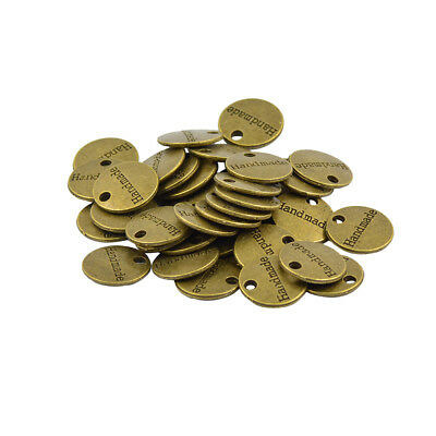 50x Antique Bronze Gold Round Handmade Tags Label Charms DIY Jewelry Making