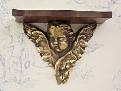 Delightful Vintage French Cast Brass Cherub Wall Sconce With Hardwood Shelf 925